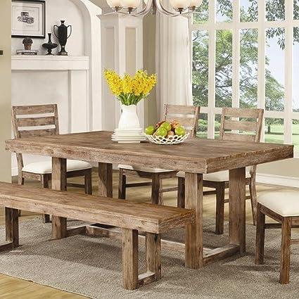 Amazon Com Elmwood U Base Dining Table Wire Brush Nutmeg Tables