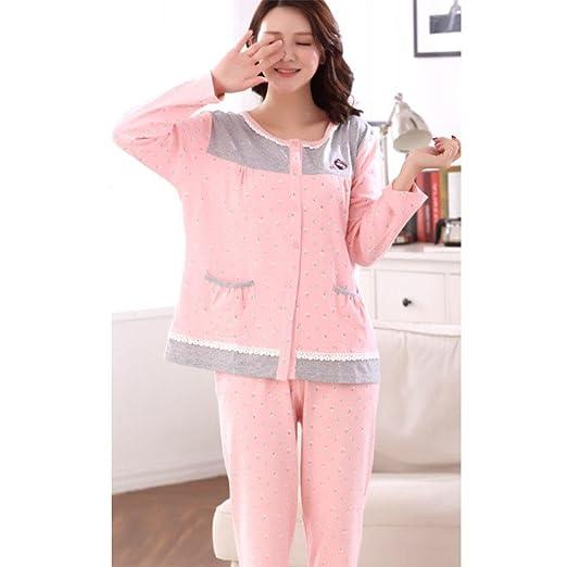 33cc7be7ea moxin Otoño e Invierno Pijamas para señoras Set de Mangas largas Lattice  Home Service Encantador Dulce