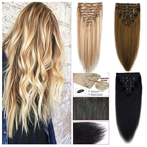 FUT Hair Extensions Clip in Human Hair Double Weft Clip on Real 8 pieces Full Head 18 clips 14