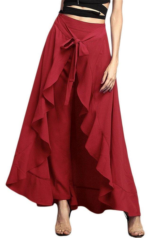 Vanbuy Womens Flowy Chiffon Ruffle Skirt Pants High Waist Split Trousers Palazzo Z142C-77034-Burgundy-S