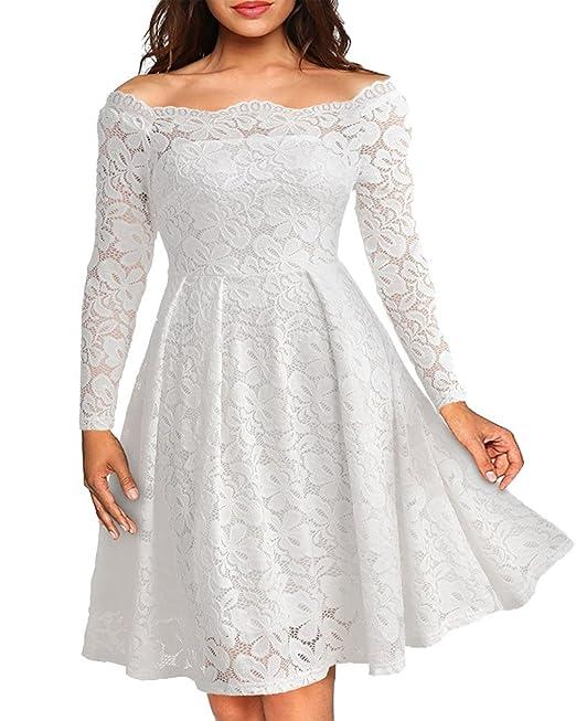 Vintage Encaje Vestido de Mujer Un Hombro Manga Larga Elegante Vestido de Novia Blanco S