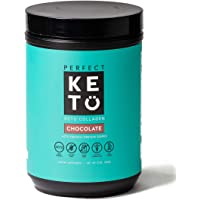 Perfect Keto Chocolate Protein Powder: Collagen Peptides Grassfed Low Carb Keto Drink Supplement with MCT Oil Powder. Best as Keto Drink Creamer or Added to Ketogenic Diet Snacks. Paleo & Gluten Free