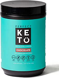 Perfect Keto Collagen Peptides Powder with MCT Oil - Grassfed, GF, Multi Supplement, Best for Ketogenic Diets, Use in Coffee, Shakes for Women & Men – Chocolate
