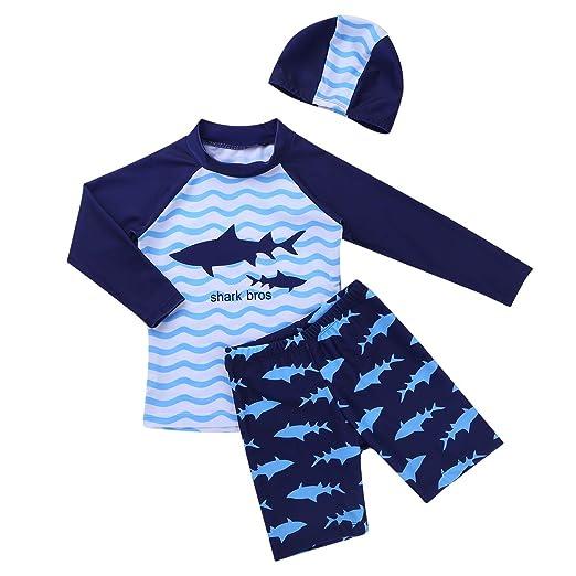 597d24fc0b iEFiEL Kids Boys Shark Pattern Swimsuits Sun Protection Swimwear Bathing  Suit Tops with Trunks Swim Cap