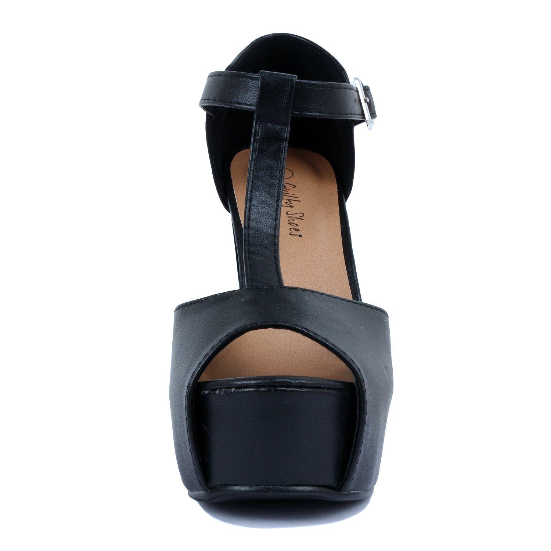 Guilty Heart - Womens Peep Toe High Heel Stiletto T-Strap Platform Sexy Sandals Heeled Sandals, Black Pu, 9 B(M) US by Guilty Heart (Image #3)