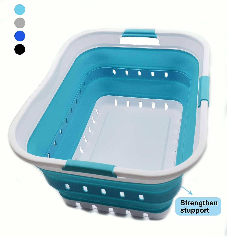 SAMMART Collapsible Plastic Laundry Basket - Foldable Pop Up Storage Container/Organizer - Portable Washing Tub - Space Saving Hamper/Basket (1, Whtie/Bright Blue)