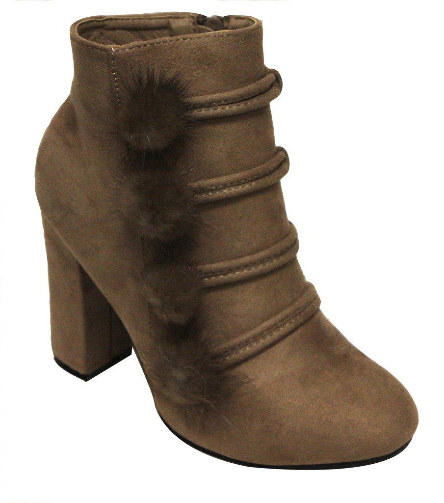 Top Moda Makai-1 Women's Almond Toe pom pom Stripes Decor Side Zip Chunky Heel Suede Booties Dk Taupe 8