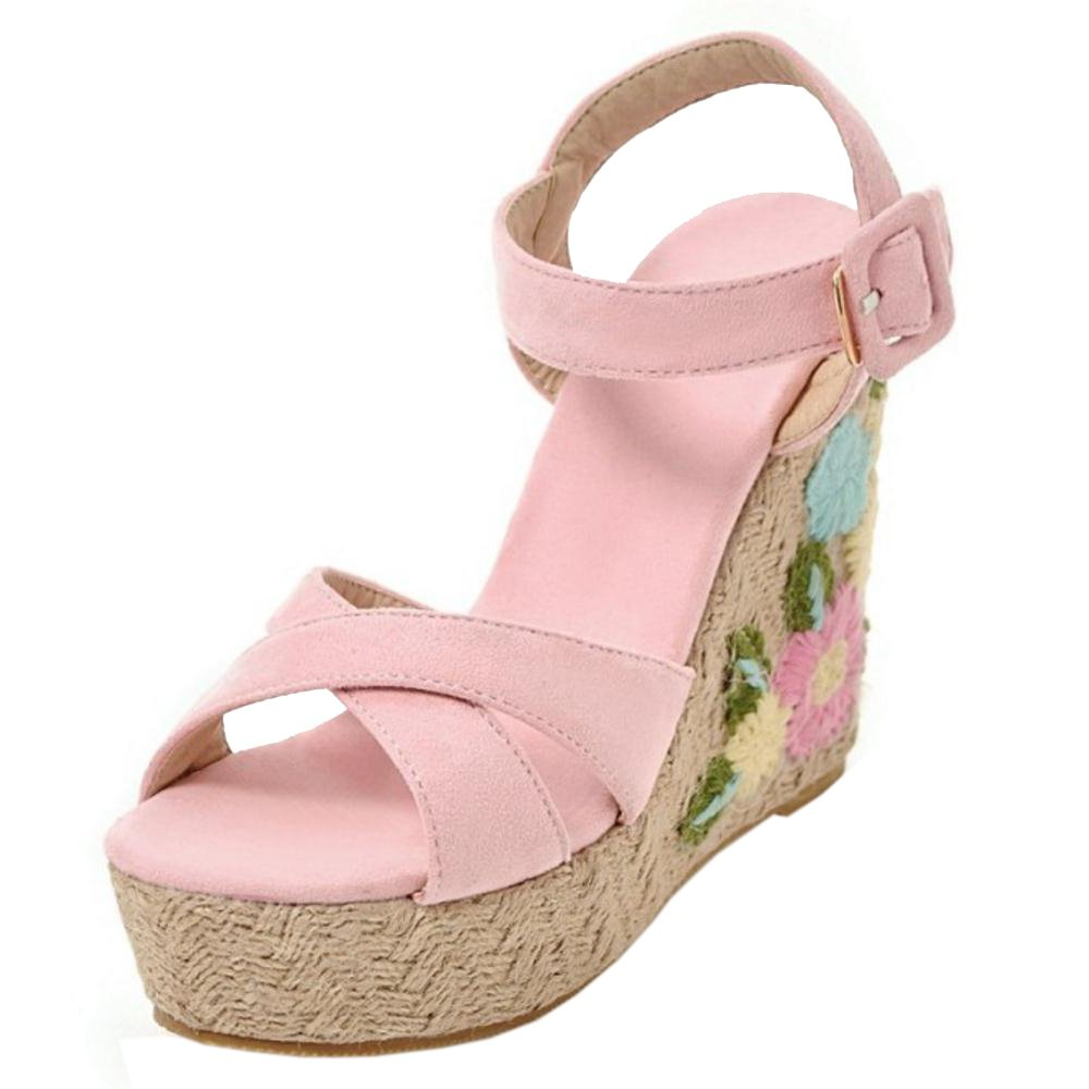 TAOFFEN Women Ankle Strap Wedge Heels Sandals B07BTXM9CN 6.5 US = 24 CM|Pink-3