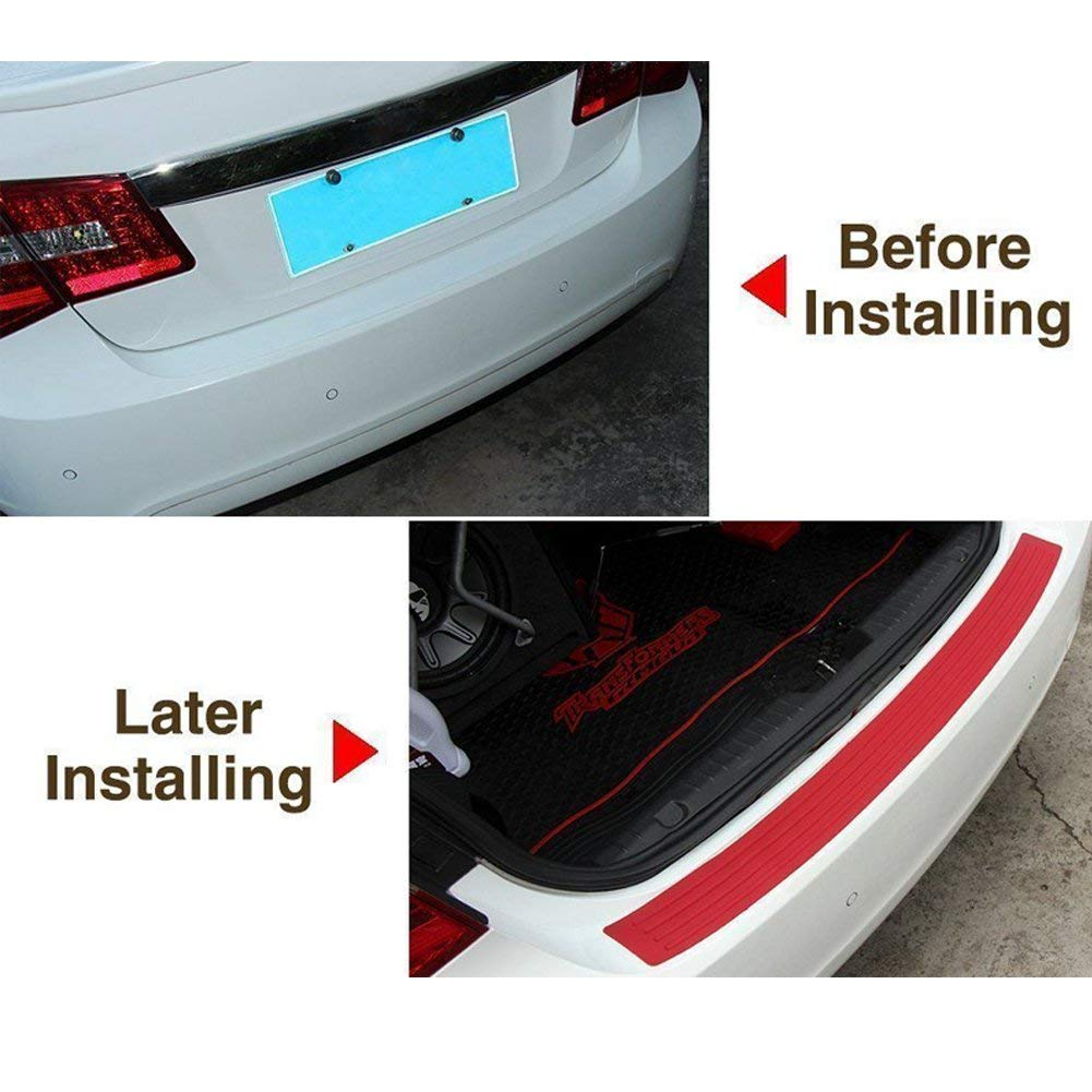 Easy D.I.Y Installation Protector 35.4inch Back Bumper Protector Guard Universal Black Rubber Durable Protect and Hide Scratches Bumper Guards for Cars//SUV black and red Rear Bumper Protector