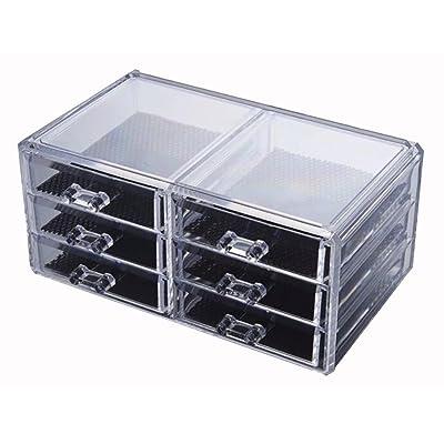 Étui cosmétique HWF Boîte à bijoux Boîte de rangement transparente Bureau Organisateur