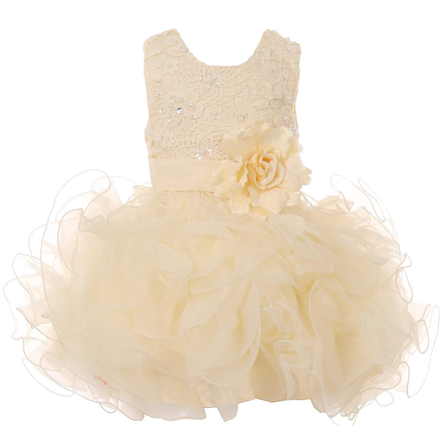 2401e0390c90 Amazon.com  Satin Glittered Tulle Baby Girl Dress with Embroidered ...