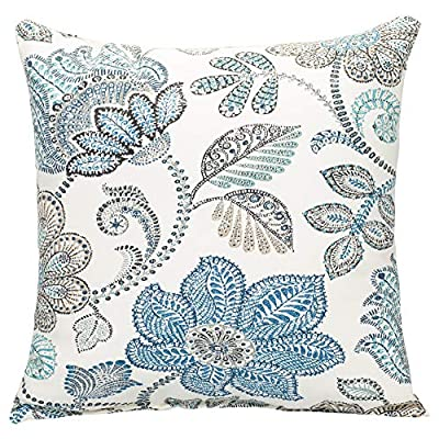 Oxford Blue Paisley on Beige Pattern 16 x 16 Indoor Outdoor Throw Pillow - Proudly made in the USA; Made of 100% high quality Polyester fiber materials Throw pillow measures approximately 16 x 16 inches finished seam to finished seam; Includes pillow form Rich colors and pattern design is weather and fade resistant up to 500 hours of direct sunlight; For longer life cover or store when not in use - living-room-soft-furnishings, living-room, decorative-pillows - 61NUSFm04XL. SS400  -