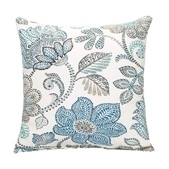 Oxford Blue Paisley on Beige Pattern 16 x 16 Indoor Outdoor Throw Pillow - Proudly made in the USA; Made of 100% high quality Polyester fiber materials Throw pillow measures approximately 16 x 16 inches finished seam to finished seam; Includes pillow form Rich colors and pattern design is weather and fade resistant up to 500 hours of direct sunlight; For longer life cover or store when not in use - living-room-soft-furnishings, living-room, decorative-pillows - 61NUSFm04XL. SS570  -