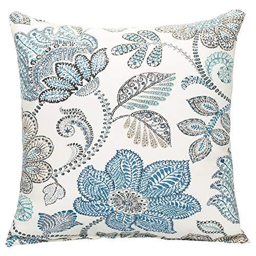 Outdoor Pillows Paisley Throw (Oxford Blue Paisley on Beige Pattern 16 x 16 Indoor Outdoor Throw Pillow)