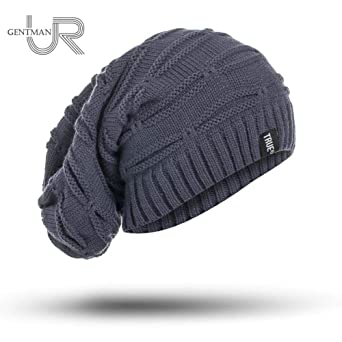 New True Letter Winter Hat Long Size Knitted Cap Casual Beanies for Men & Women Solid Bonnet Cap (Black) at Amazon Mens Clothing store: