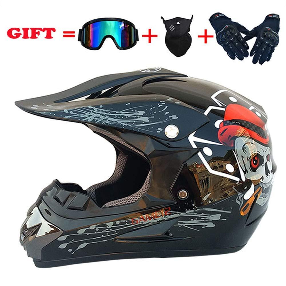 スポーツモトクロスヘルメット、フォーシーズンズユニバーサルアダルトオフロードバイク、AMマウンテンバイク万能ヘルメットゴーグルグローブマスク(4個セット)、マットブラック、M,ブライトブラック、ミディアム
