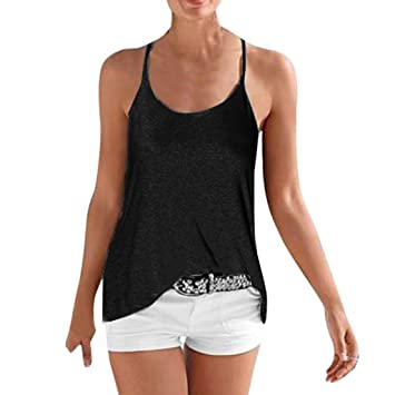 0074fa9eeb Image Unavailable. Image not available for. Color  Dacawin Women Sleeveless  Loose Tops ...
