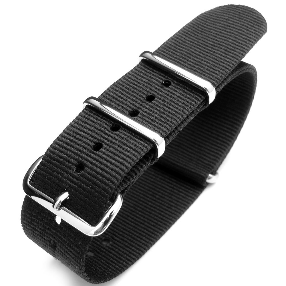 Nato 23mm Heat Sealed Heavy Nylon Polished Buckle - Black
