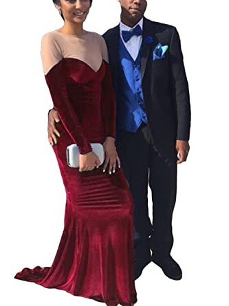DressTailor Womens Mermaid Long Sleeve Evening Dresses Velvet Evening Prom Gowns