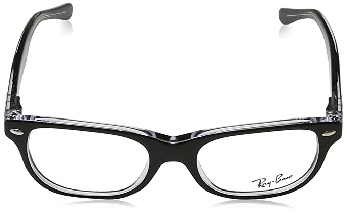 f34791176fc Amazon.com  Ray-Ban RY 1555 3529 Black On Transparent Plastic Rectangle  Eyeglasses 48mm  Clothing