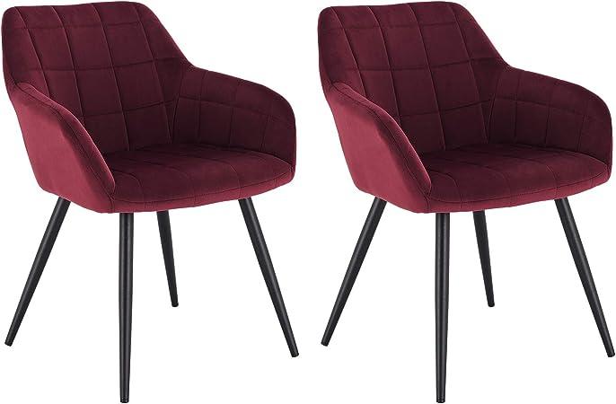 WOLTU Lot de 2 Chaises de Salle à Manger avec accoudoirs, Chaise de Salon Structure en métal et Assise en Velours,Bordeaux BH93bd 2