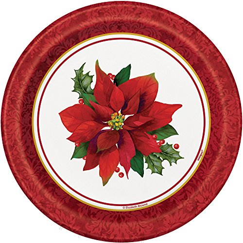 Holly Poinsettia Holiday Dessert Plates, 8ct