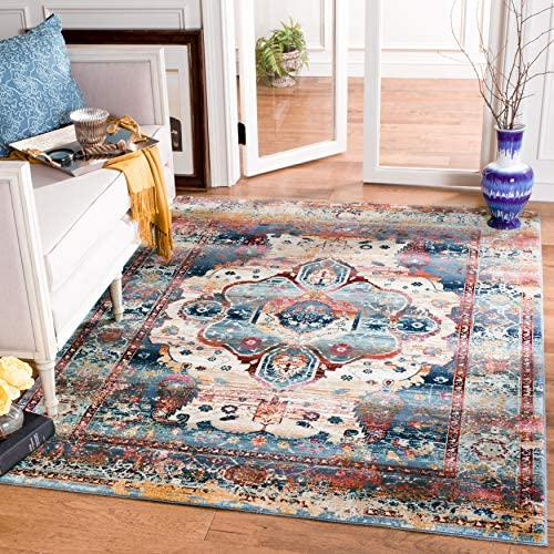 Safavieh Baldwin Collection BDN194C Slate Blue and Rust Vintage Oriental Square Area Rug 6 7 Square