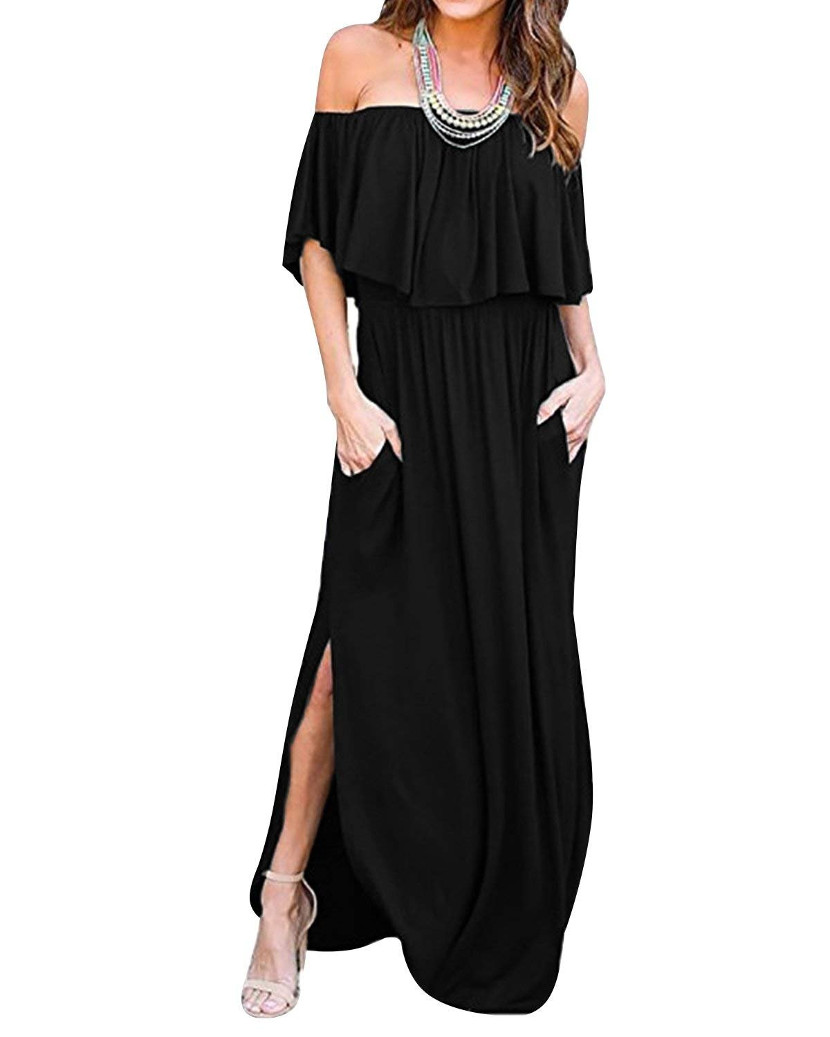 LILBETTER Womens Off The Shoulder Ruffles Pockets Dress Side Split Maxi Dresses (Black L)