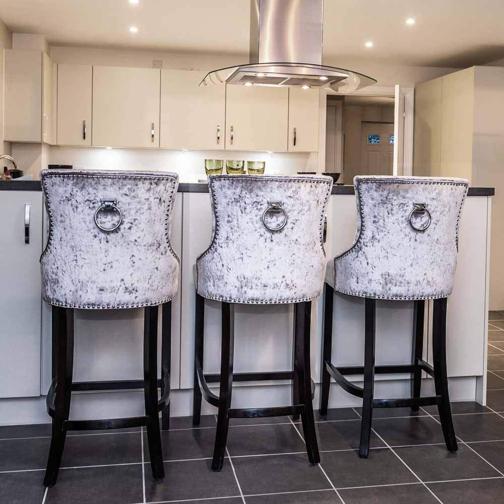 Silver Crushed Velvet Upholstered Buttoned Bar Stool with Silver ...