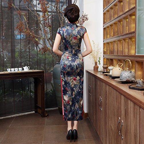 ACVIP Cheongsam Qipao Long Robe de Soirée Oriental Chinois Traditionnel Rétro pour Femme