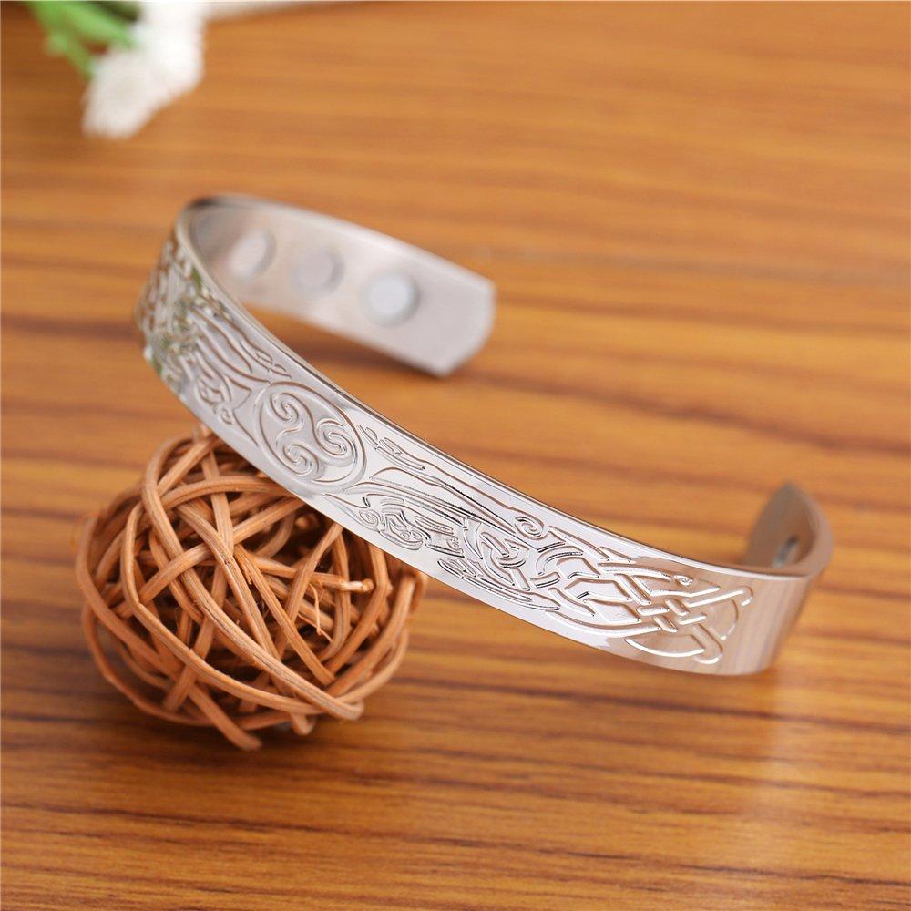 fishhook Wolf Triskelion Celtic Knot Symbol Stainless Steel Health Care Magnetic Bangle Bracelet