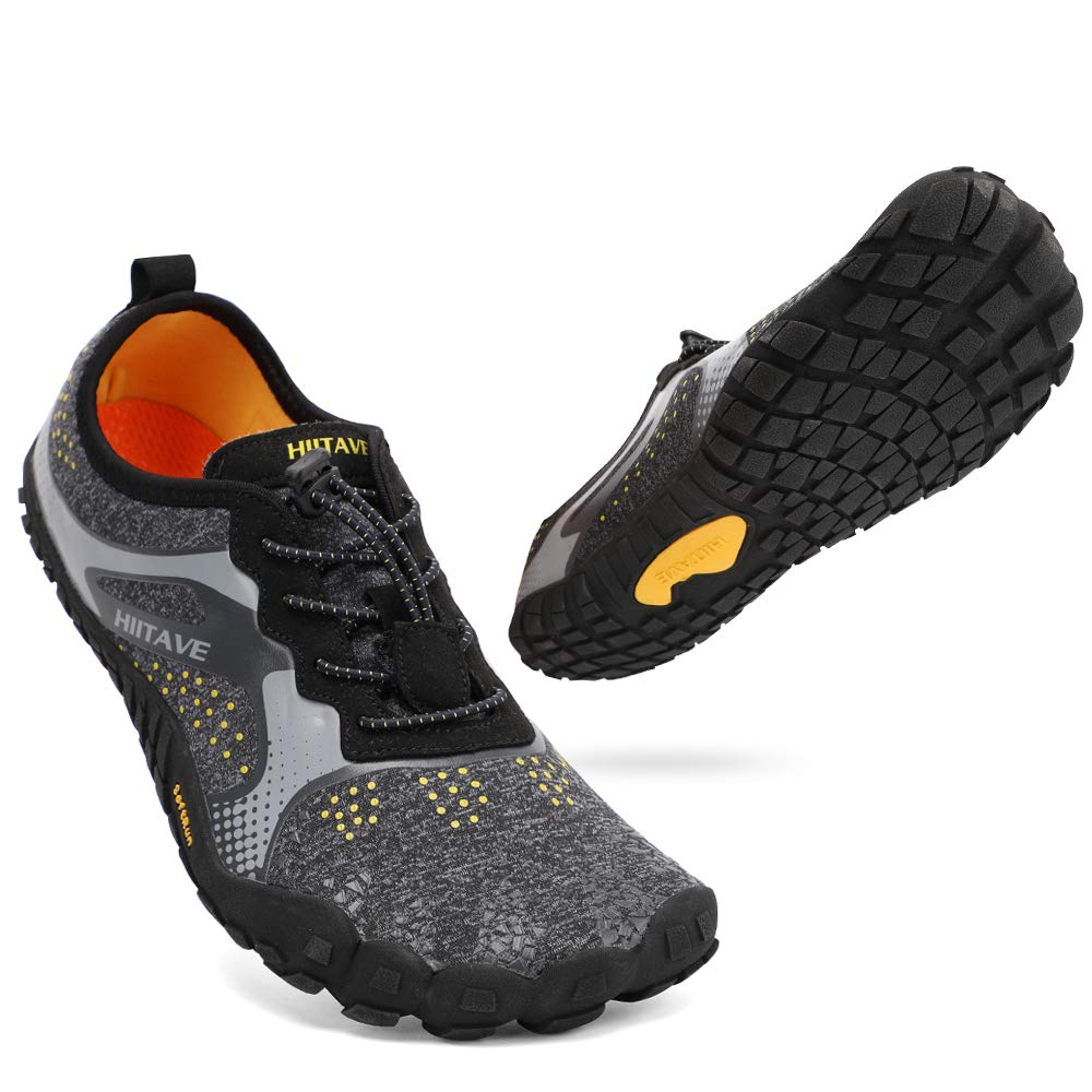 ALEADER hiitave Men/Womens Minimalist Barefoot Trail Running Shoes Wide Toe Glove Cross Trainers Hiking Shoes Black/Gray/Yellow US 9.5 Women, US 8.5 Men by ALEADER