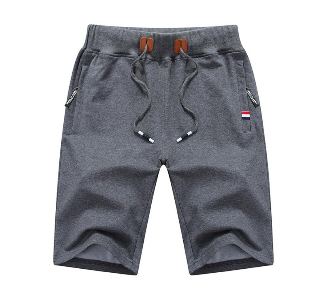 Amoystyle Men's Cotton Classic Fit Drawstring Casual Shorts Dark Gray Asian 3XL