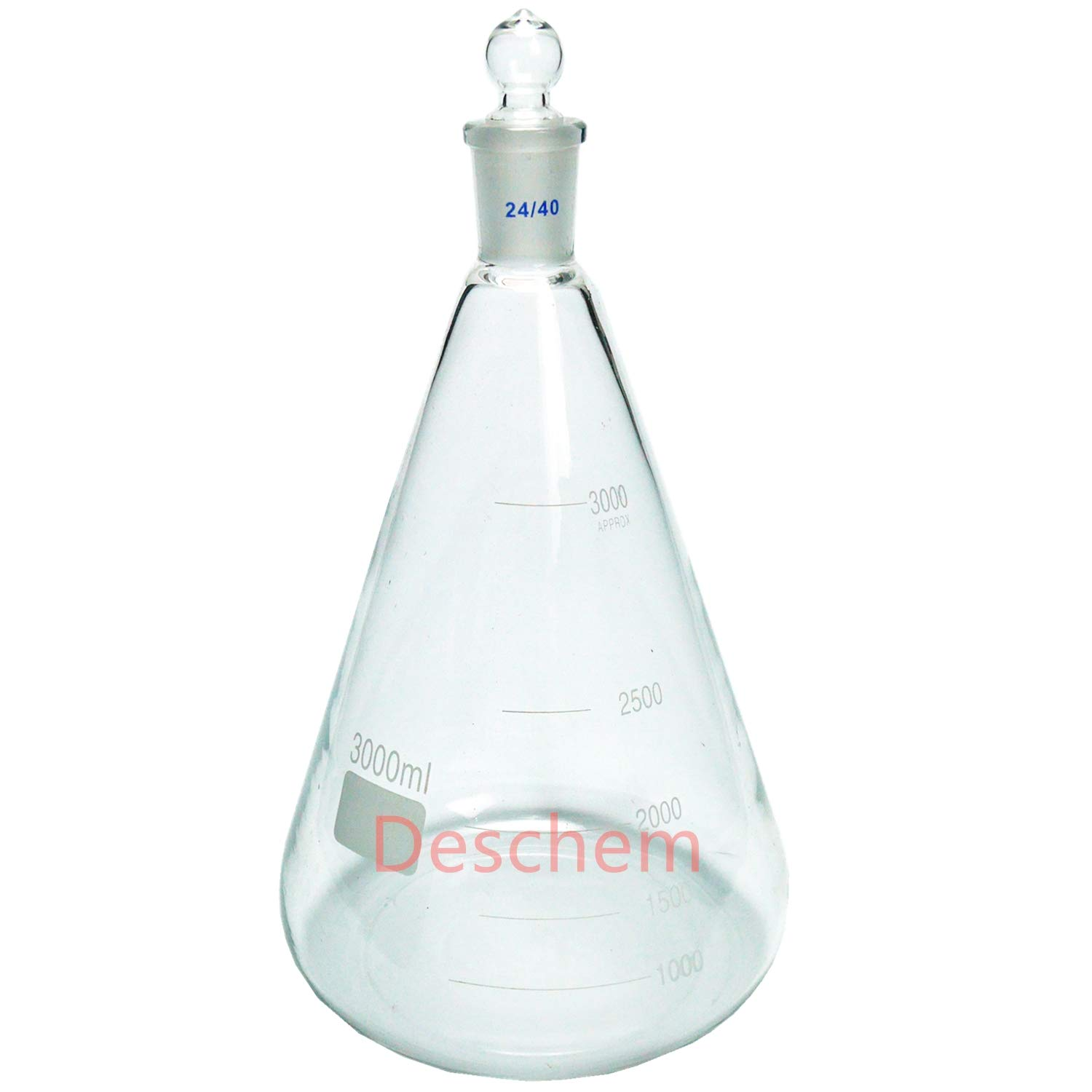 Deschem Glass Erlenmeyer Flask,Lab Conical Bottle with 24//40 Ground Joint Stopper
