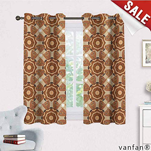(Big datastore Solid Thermal Insulated Grommet Blackout Panels/Drapes,Tan and Brown,Kaleidoscopic Round Figures with Asian Origins Ethnic Ottoman,for Bedroom Window Brown Beige Pale Orange,W55 Xl39)