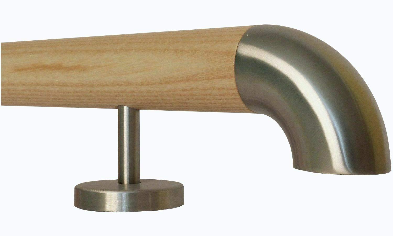 L/änge 30-500 cm aus einem St/ück//zum Beispiel L/änge 200 cm mit 3 gerade Halter Esche Holz Treppe Handlauf Gel/änder Griff gerade Edelstahlhalter Enden =schr/äges Edelstahlendst/ück