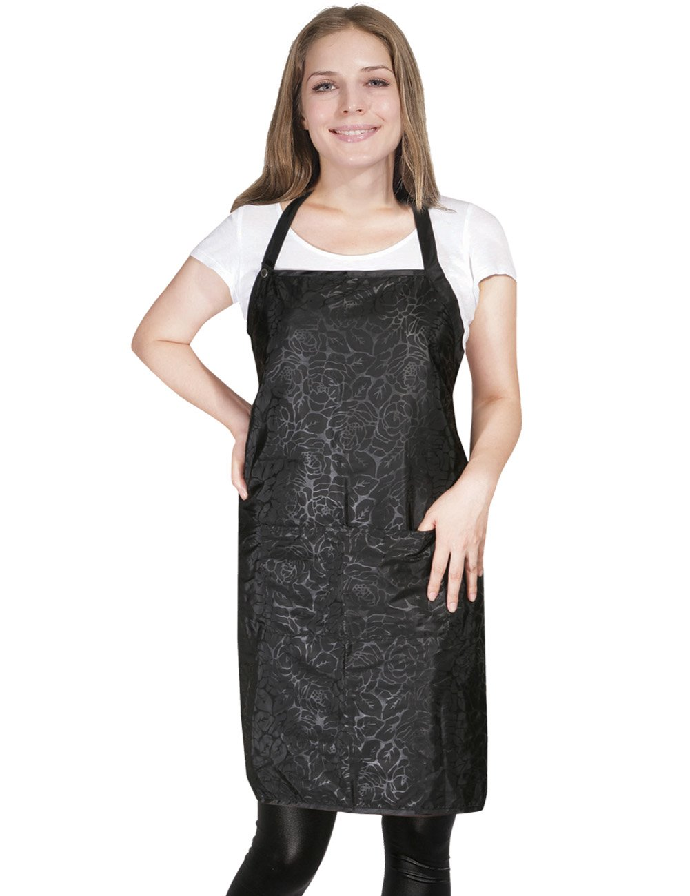 XMW Printing adjustable Water Repellent Salon Apron with Pocket Black02