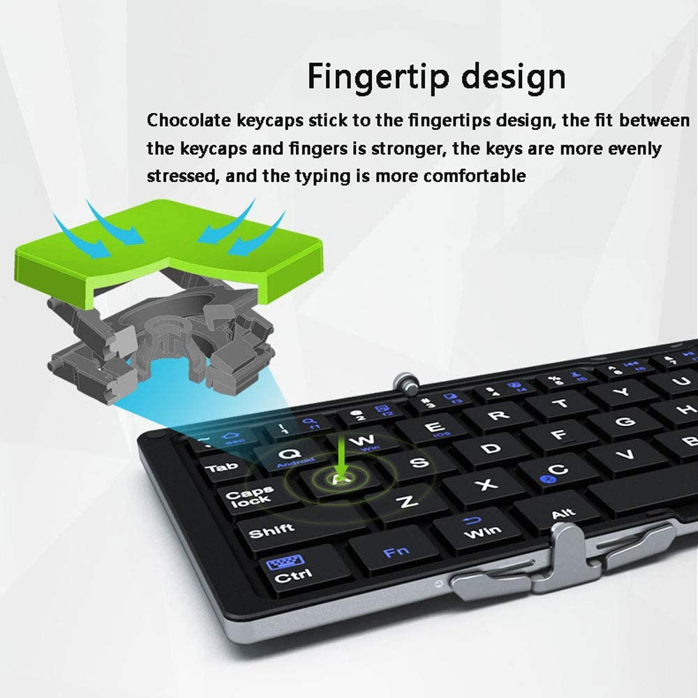 SCKL Bluetooth Foldable Keyboard Wireless Keyboards for iOS//Android//Windows