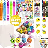 12 Kids Birthday Party Bags White - Pre Filled Boys and Girls Toys, Bubbles, Bouncy Balls and more Party Favours for Children