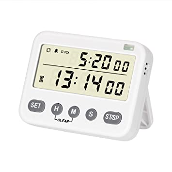 24-Hour Clock Count Down//Up Kitchen Clock Timer with Large LCD Display Retractable Stand and Magnetic Back for Cooking Baking Sports Games Office Daily Alarm Clock BizeoRade Digital Kitchen Timer