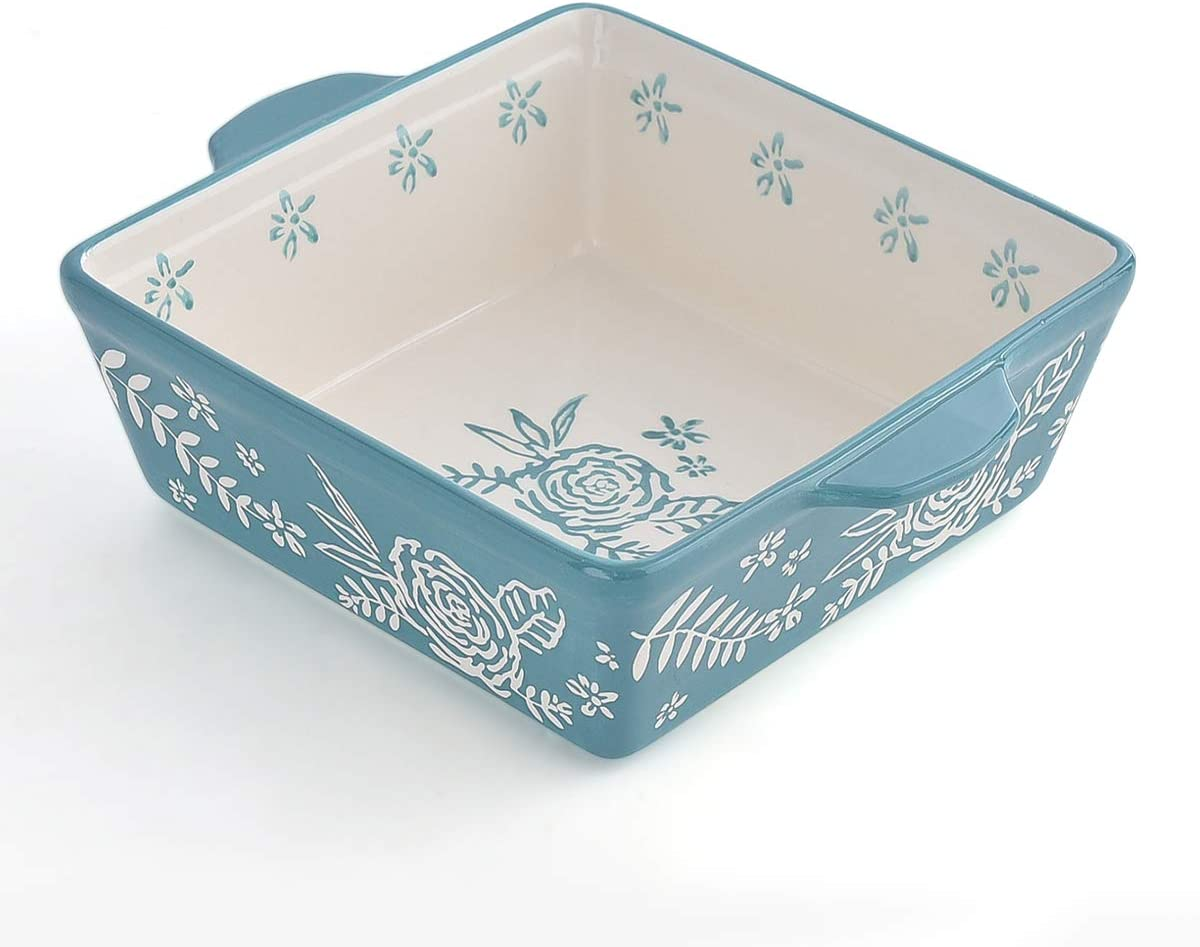 KINGSBULL HOME Baking Dish 8x8 Baking Pan Ceramic Brownie Pan Casserole Dish Hand-painted Bakeware Sets Lasagna Pan
