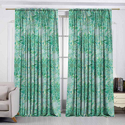 VIVIDX Outdoor Patio Curtains,Turquoise,Floral Pattern with Beryl Crystal Guilloche Flowers Carving Art Elements Image Print,Insulated with Curtains for Bedroom,W72x72L Inches Green