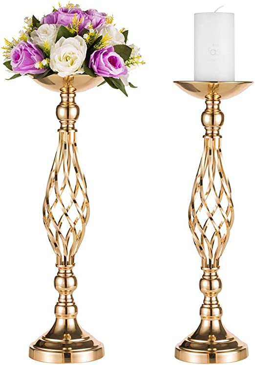 Gold Fortune 2 Pieces 19.5 Inch 50CM Silver, 19.5 Height Metal Candle Holder Stand Wedding Flower Rack Centerpiece Event