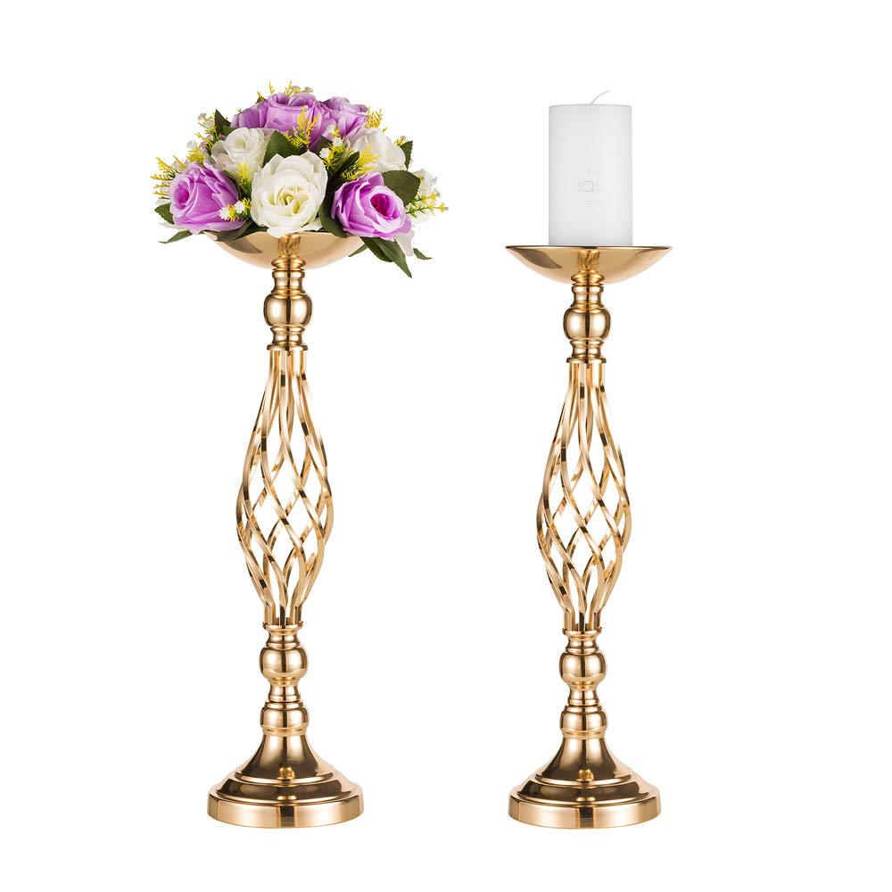 "Pcs of 2 Tall Metal Vase for Wedding Centerpieces Decoration-Artificial Flower Arrangement-Pillar Candle Holder Stand Set for Wedding Party Dinner Event Centerpiece Home Decor (2x20.5"" H, Twist Style)"