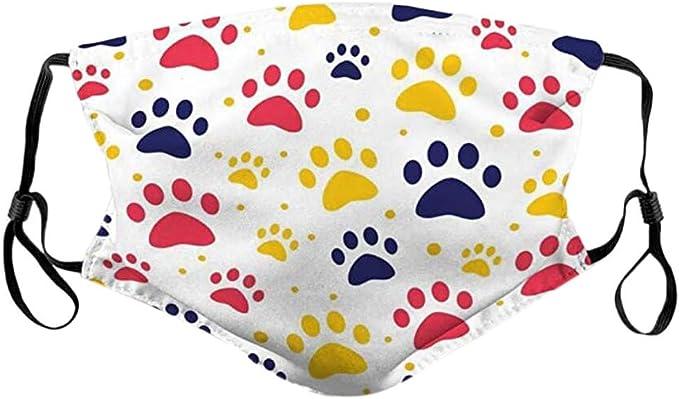 WINCAN Face Cover,Cane Chihuahua con Cerchio Occhiali Zampa,Passamontagna Unisex Riutilizzabile Antivento Anti-Polvere Bocca Bandana Ghetta con 2 filtri
