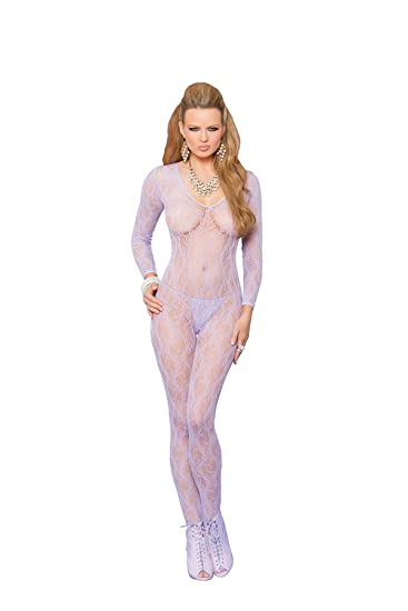 dfabd087a85 Elegant Moments Long leeve lace bodytocking with open crotch Lilac One Size