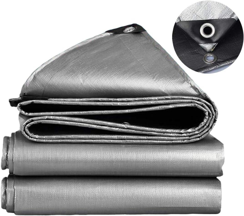 4 x 5 m,150g//m/² Lona de PE Lona de lona gris plata impermeable Lona de calidad superior para acampar al aire libre SOVIYAS Lona de alta resistencia Lona reforzada Ojales gruesos 4m x 5m 13ft x16ft