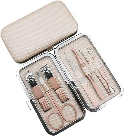 YINGZU Set de manicura Kit de pedicura Profesional de Acero Inoxidable Tijeras de uñas Kit de Aseo para Mujeres Hombres Incluye removedor de cutícula con Estuche de Viaje portátil,Gold: Amazon.es: Hogar