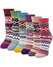 Chalier 6 paar Merino sokken dames winter wollen sokken gebreide sokken warme dikke thermosokken knuffelsokken kleurrijk ademende sokken dames eenheidsmaat 36-42