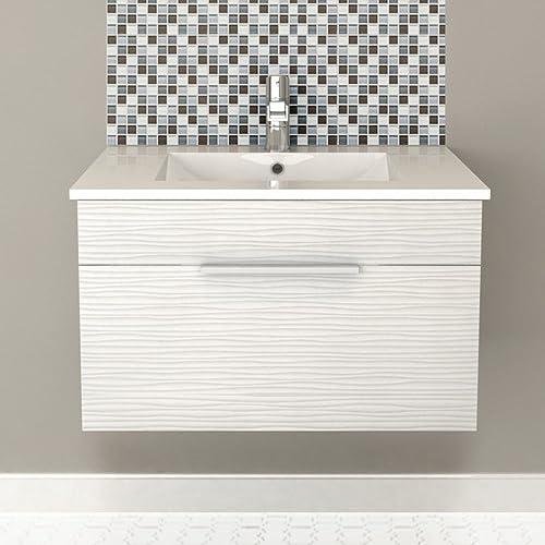 Cutler Kitchen Bath Textures Collection 30″ Wall Mount Bathroom Vanity Contour White
